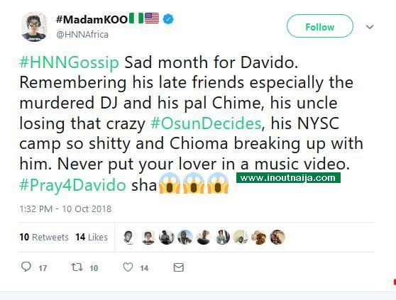 Has Chioma broken up with music superstar Davido?