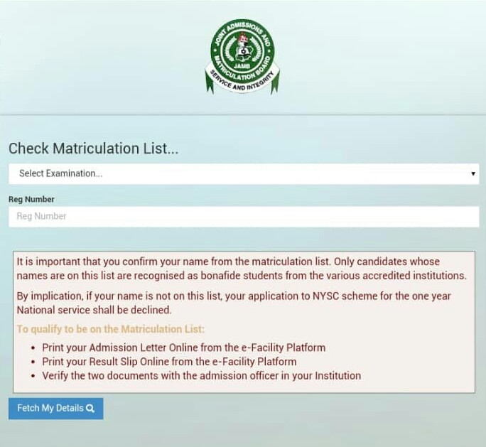 JAMB Releases List Of Matriculation Undergraduates - See How To Check It