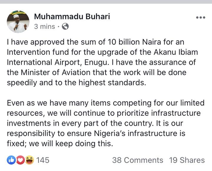 President Buhari Approves N11bn For The Repair Of Enugu State Airport Runway
