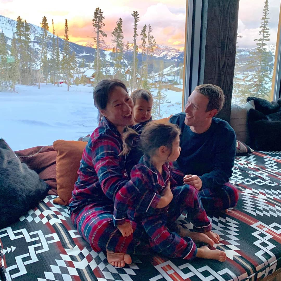 Mark Zuckerberg and Family Rock Matching Pajamas
