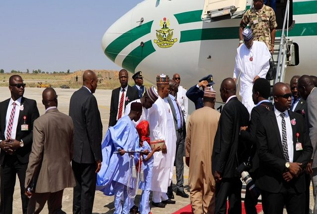 Buhari Arrives Maiduguri Airport To Attend COAS Conference