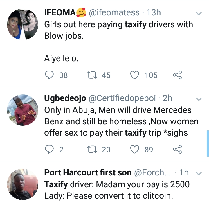 Ladies Now Offer Uber/Taxify Drivers Sex To Pay For Trips; Will Opay Be A Victim?
