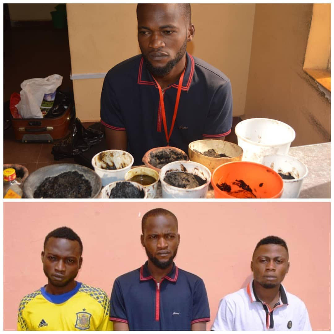 3 Yahoo Boys Arrested With Their Charms in Osun State