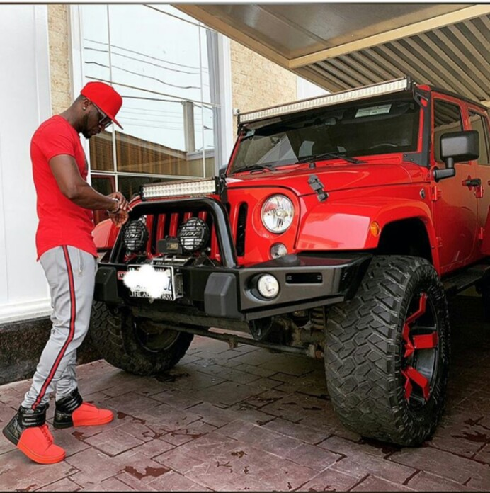 Peter Okoye rocks matching outfit with his Jeep