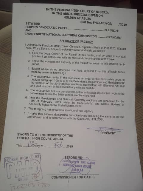 PDP sues INEC, APC, the Nigerian Immigration Service and others over election interference by foreigners