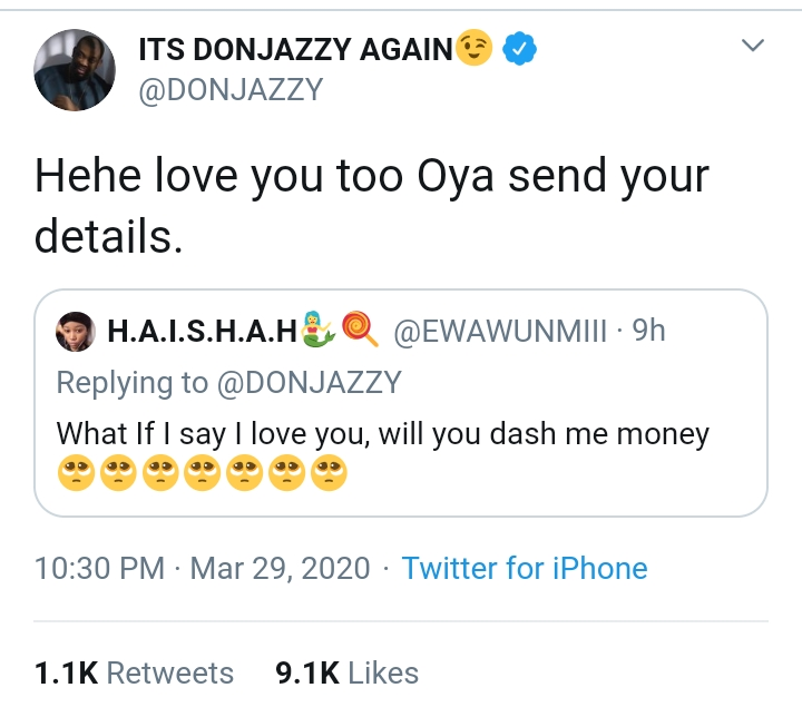 Don Jazzy Sends 100K To A Guy Who Insulted Him On Twitter