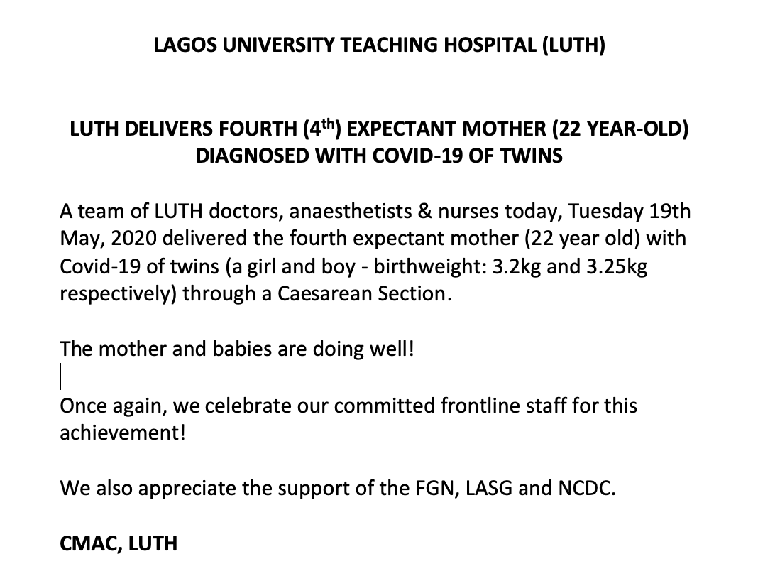Coronavirus Patient Gives Birth To Twins At LUTH