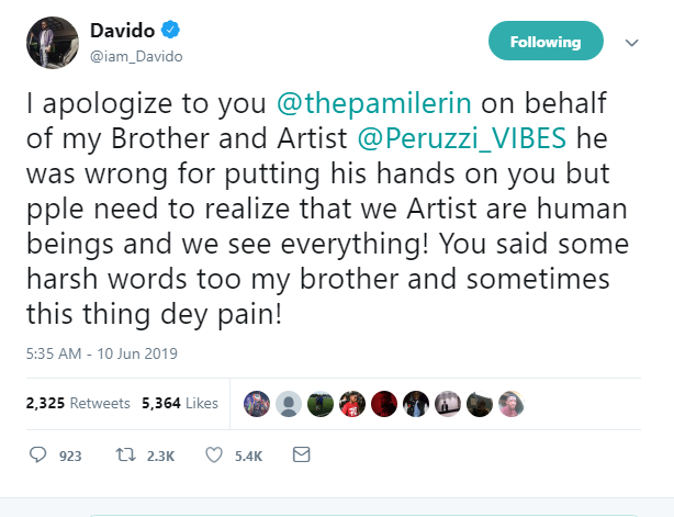 Davido & Peruzzi Renders Apology To Pamilerin For Slapping Him