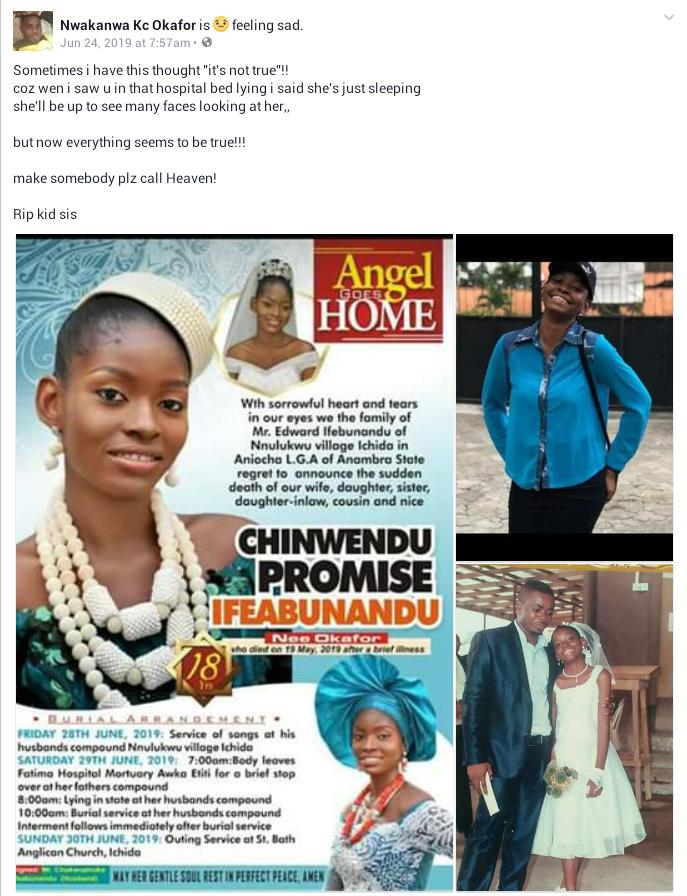 18-Year Old Girl Dies 3 Weeks After Her Wedding