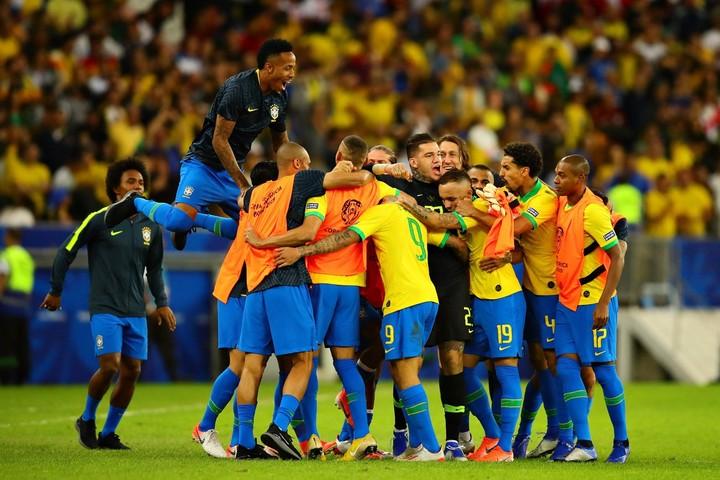 BRAZIL: Neymar Celebrates Their Victory In COPA America