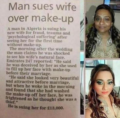 Man whose wife deceived with too much make-up sues