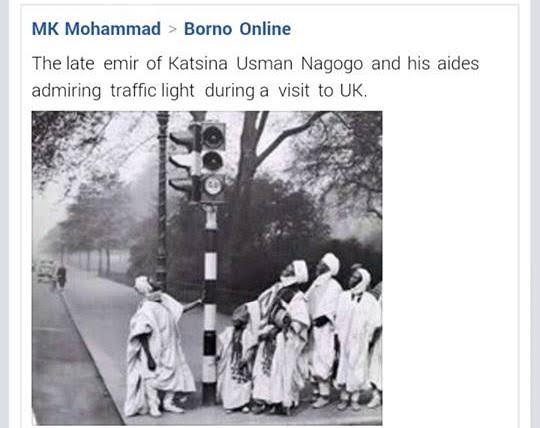 Throwback photo of Emir of Katsina and his aides admiring the traffic lights in the UK