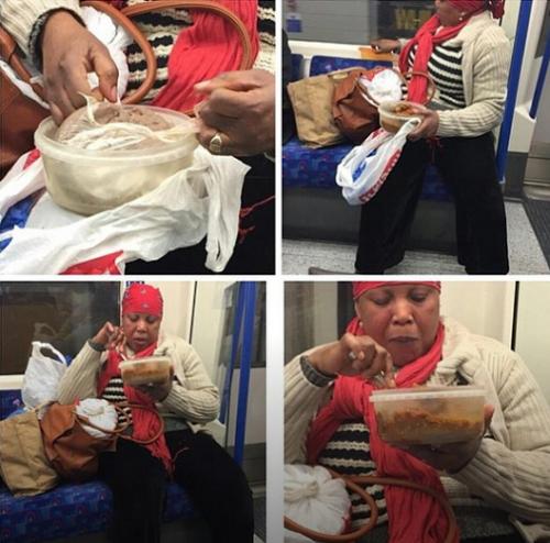 Woman enjoys Nigeria delicacy in UK Train