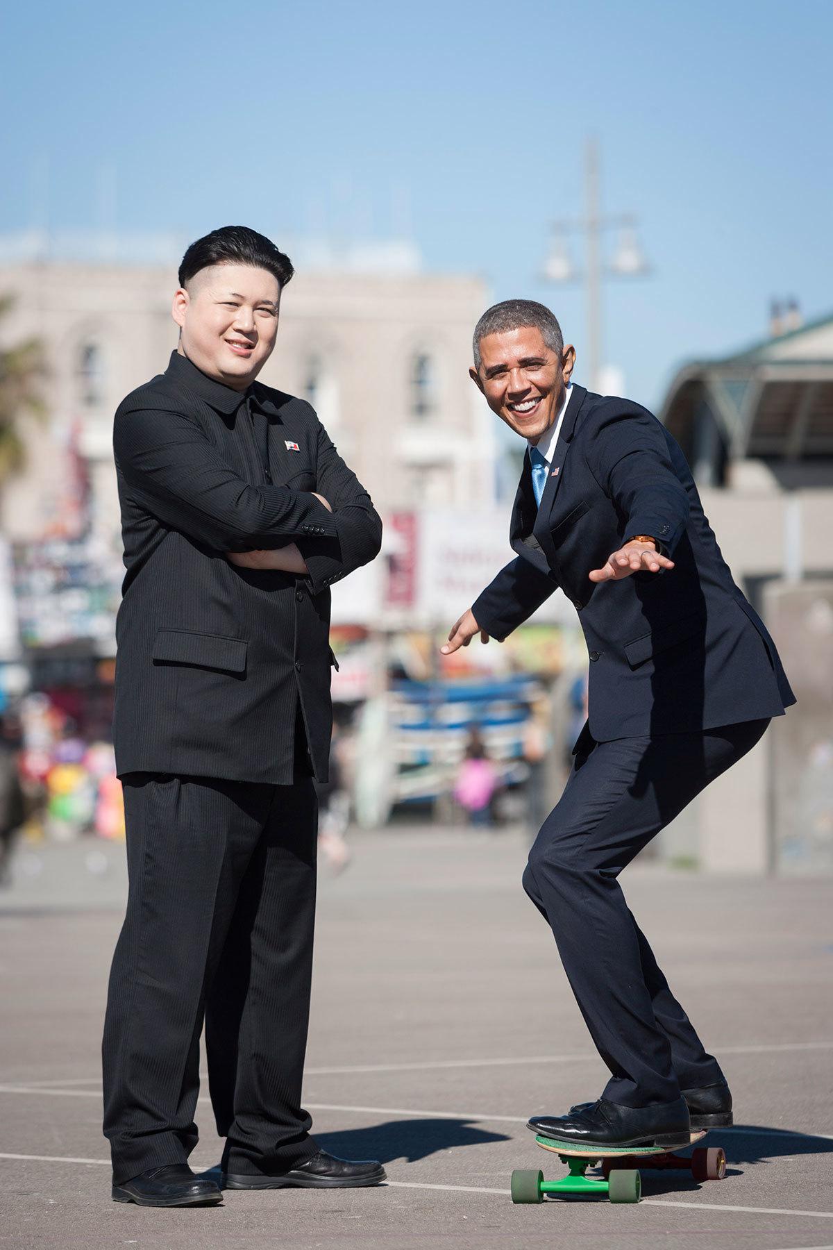 See Barack Obama and Kim Jong Un's impersonators