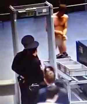 Man strips for airport security