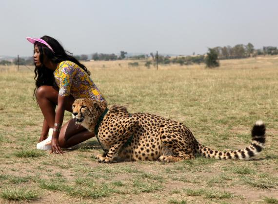 Vimbai poses with a Cheetah