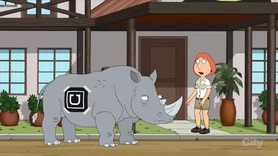 Rhino is the Uber Taxi/Cab in Abuja Nigeria according to Family Guy
