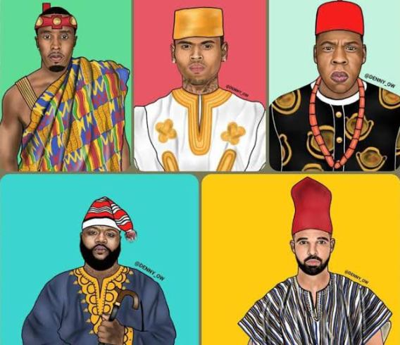 Ghanaian Artist's Cute Illustration of American Artistes wearing African Clothes