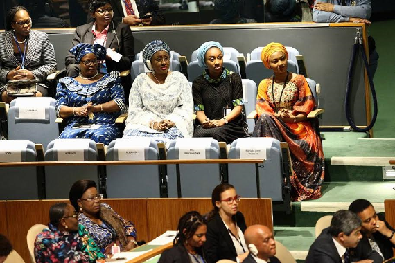 First Lady Aisha Buhari and daughters at the UN General Assembly