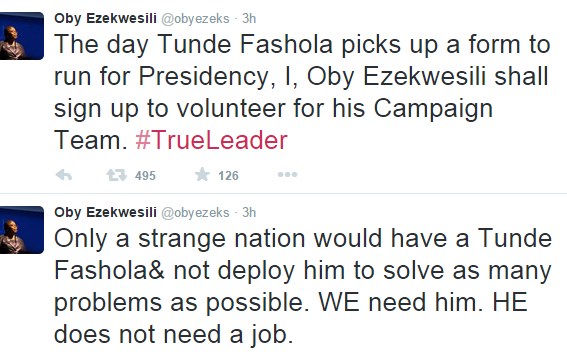 Oby Ezekwesili shows support for Fashola's future ambition