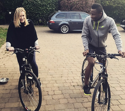 Chelsea Mikel Obi and girlfriend Olga Diyachenko take a ride