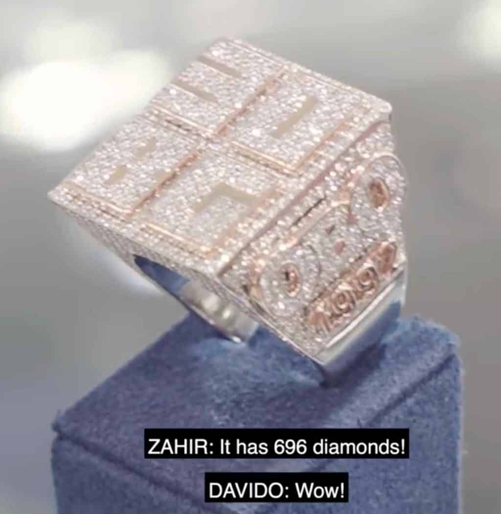 Davido's 30BG Ring Costs N54M & Has 696 Diamonds