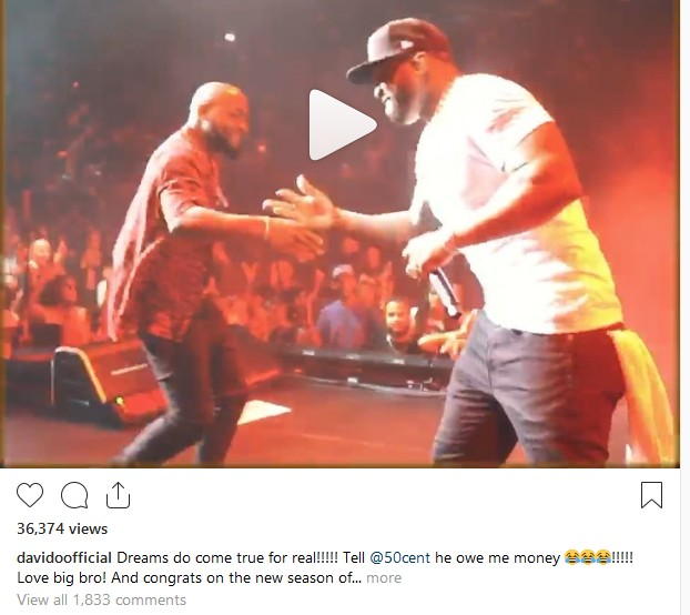 """Dreams do come true for real"" - Davido Wrote After Meeting 50Cent"