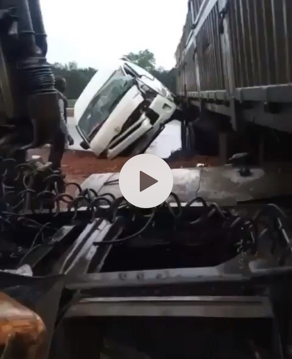 Another Dangote Truck Collides With GIGM (God Is Good Motors)