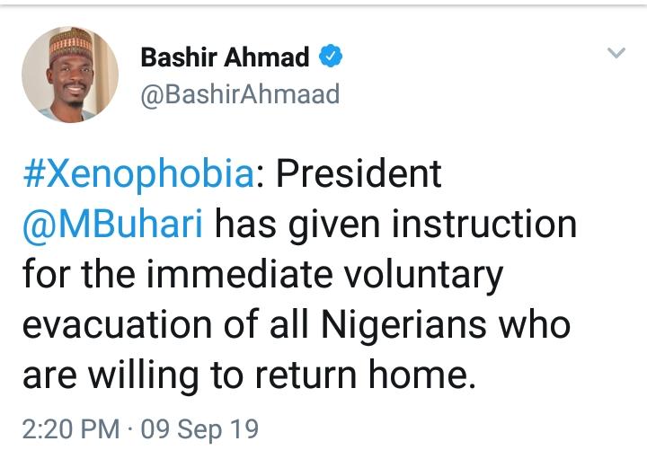 Buhari Orders The Immediate Evacuation Of Nigerians In South Africa