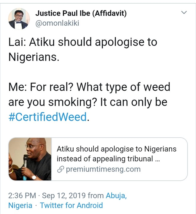 Atiku's Aide Claims Lai Mohammed Smokes Weed