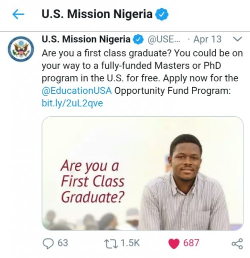 Fully Funded Masters or PhD program in the US for first class graduates - US Embassy