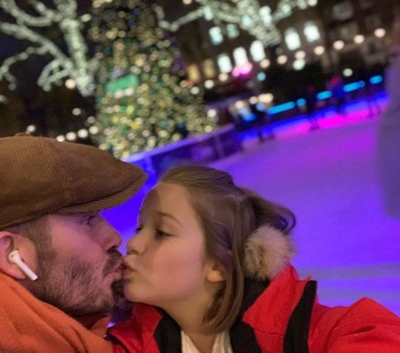 David Beckham after he's criticized for kissing daughter on the lips
