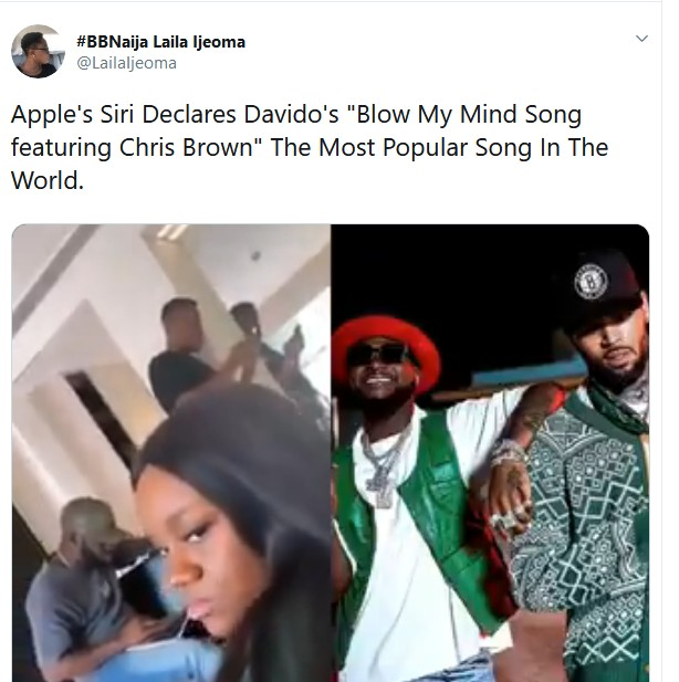 """Davido's Blow My Mind is the most popular song on Earth"" - Apple's Siri"